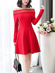 Women's Slim A Line Dress Lace Cut Out Patchwork Boat Neck Above Knee Long Sleeve Blue Spring High Rise