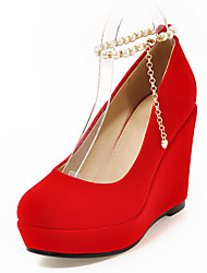 Women's Oxfords Spring Summer Fall Winter Club Shoes Fleece Wedding Dress Party & Evening Wedge Heel Chain Black Red