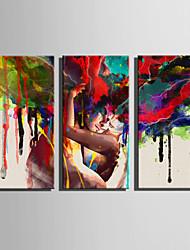 Холст Set Абстрактные портреты Modern,3 панели Холст Вертикальная Печать Искусство Декор стены For Украшение дома