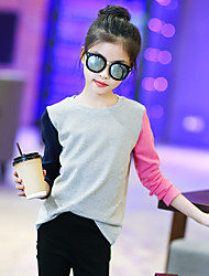 Girl's Fashion Going out Casual/Daily Holiday Patchwork Tee Spring/Fall Children Cotton Long Sleeve Cartoon Shirt Blouse
