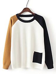 Damen Standard Pullover-Ausgehen Lässig/Alltäglich Urlaub Einfach Patchwork Grau Orange Gelb Rundhalsausschnitt LangarmKunst-Pelz