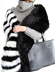 Unisex Faux Fur Scarf,Casual Infinity Scarf,Black White,Patchwork
