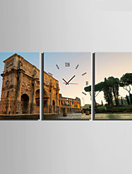 E-HOME® The scenery of The Famous European Architecture Clock in Canvas 3pcs