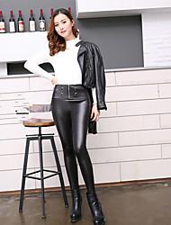 Photos Figure autumn and winter high waist super soft black leather pants trousers models plus velvet leggings leather pants feet pants