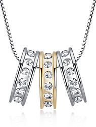 Character three times three-ring Austrian crystal edge set good necklace birthday present female collarbone chain 0374 #