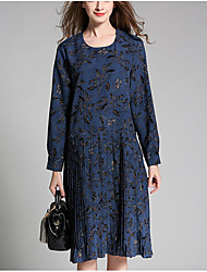 Women's Plus Size Going out Holiday Vintage Simple Loose Dress,Floral Round Neck Knee-length Long Sleeve Polyester Blue Yellow SpringMid