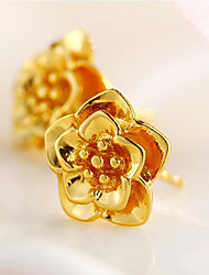 Gold Imitation Gold Flower Earrings