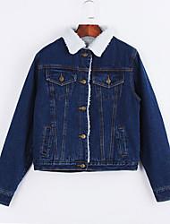 Women's  Denim JacketsSolid Shirt Collar Long Sleeve FallLamb Fur Medium
