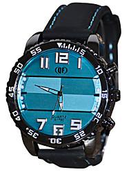 Men's Fashion Watch / Quartz Silicone Band Casual Black