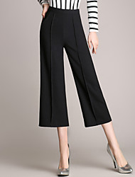 Women's OL Style Wide Leg Loose Thin 3/4 Business PantsWork Simple Solid High Rise Zipper Micro-elastic Summer
