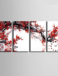E-HOME® Red Plum Blossom Clock in Canvas 4pcs