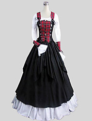 Skirt Blouse/Shirt Corset Gothic Lolita Victorian Cosplay Lolita Dress Black Solid Plaid Long Sleeve Ankle-length Top Blouse Skirt For