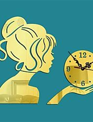 1Pcs   New DIY Wall Clock Digital Clocks Acrylic 3D Mirror Wall Stickers Portrait Living Room Still Life Quartz Needle