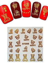 1sheet  Gold Nail Stickers XF6008