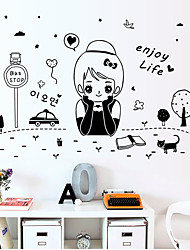Korean Girl Fashion Enjoy Life Wall Stickers DIY Girl Bedroom Wall Decals Home And Garden