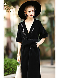 BLUEOXY Women's Casual/Daily Holiday Boho Bodycon Dress,Solid V Neck Maxi ½ Length Sleeve Polyester Spandex Black Spring Low Rise Inelastic