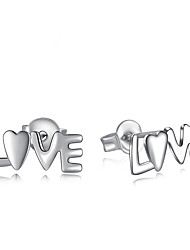 LOVE Non Stone Stud Earrings Jewelry Wedding Party Halloween Daily Casual Alloy Silver Plated 1 pair Silver