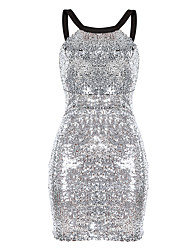 Women's Party/Cocktail Club Sexy Street chic Slim Bodycon DressColor Block Backless Sequins Halter Mini Sleeveless
