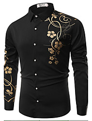 Men's Casual/Daily Simple Spring Fall Shirt,Floral Classic Collar Long Sleeves Cotton