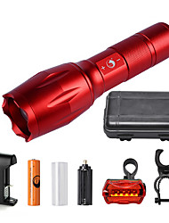 U'King ZQ-G7000-Red#3-US CREE XML-T6 2000LM Portable Zoom Flashlight Torch Kit 5Modes with 1*Battery and Charger