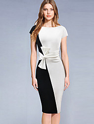 Women's Going out Simple Sheath Dress,Color Block Bow Round Neck Midi Short Sleeve Polyester Black Summer Mid Rise Micro-elastic