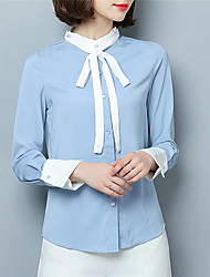 Fashion Spring Long Sleeves Stand Up Upper Outer Garment Daily Leisure Solid Color Wild Home Play Chiffon Blouse