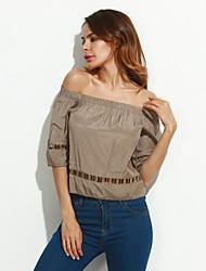 Damen Solide Street Schick Lässig/Alltäglich T-shirt,Trägerlos Sommer ½ Länge Ärmel Grau Baumwolle Undurchsichtig