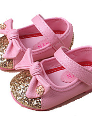 Girl's Flats Spring Summer Fall Flower Girl Shoes Light Soles PU Casual Flat Heel Sequin Pink Red White