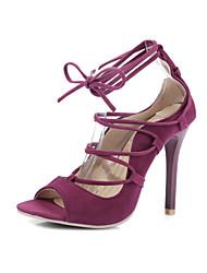 Women's Sandals Summer Club Shoes Gladiator Comfort Fleece Wedding Party & Evening Dress Stiletto Heel Lace-up Black Red