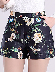 Women's Plus Size Straight Wide Leg Chinos Shorts Pants,Going out Casual/Daily Simple Cute Print High Rise Zipper Others Micro-elastic