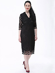 Women's Lace Plus Size Vintage Lace Dress,Solid Lace V Neck Knee-length ½ Length Sleeve Polyester Beige Black Spring Summer Mid Rise