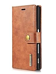 Pour Porte Carte Portefeuille Clapet Coque Coque Intégrale Coque Couleur Pleine Dur Vrai Cuir pour Sony Sony Xperia X