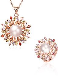 Schmuck 1 Halskette Ringe Kubikzirkonia Hochzeit Party Alltag Normal Zirkon Kupfer Rose Gold überzogen 1 Set Damen Rotgold