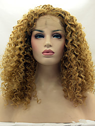 Heat Resistant Synthetic Lace Front Wig Kinky Curly Hair Blonde 27# Color Synthetic Fiber Hair Lace Wigs
