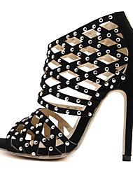 Mujer-Tacón Stiletto-Zapatos del club-Sandalias-Oficina y Trabajo Vestido Fiesta y Noche-Sintético-Negro