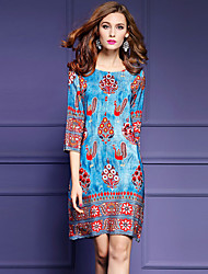 Women's Boho Plus Size Going out Street chic Loose Dress,Print Round Neck Above Knee ¾ Sleeve Polyester Blue Spring Summer Mid Rise