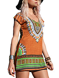 Women's Casual/Daily Vintage Loose Dress,Print V Neck Above Knee Short Sleeve Polyester Orange Summer Mid Rise Micro-elastic