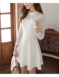 Women's Lace Casual/Daily Simple A Line Dress,Solid Lace Stand Above Knee Long Sleeve Polyester White Black Spring Summer Mid Rise