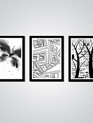 Modern Black and White Art Abstrat Butterfly and Tree Canvas Print 3pcs/set for Wall Decoration Ready to Hang