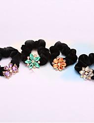 South Korea Crystal Flowers Flannelette Twist Horsetail Hair Circle Rope Head Hair Blended Hair 5pcs