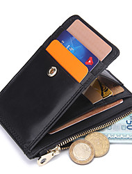 Contacts Genuine Leather Compact Thin Zipper Coin Wallet Card Holder Casual Card & ID Holder Cowhide Unisex