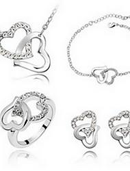 Schmuck 1 Halskette 1 Paar Ohrringe 1 Armreif Ringe Kristall Party Aleación 1 Set Damen Weiß Blau Lila Rosa Himmelblau Hochzeitsgeschenke