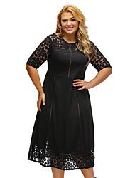 Women's Black Floral Lace Splice Short Sleeve Curvy Dress