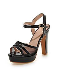 Damen-Sandalen-Lässig-PU-Blockabsatz-Andere-Schwarz Grün Rosa Weiß