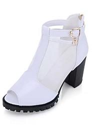 Damen-High Heels-Lässig-PU-Blockabsatz-Leuchtende Sohlen-Schwarz Weiß