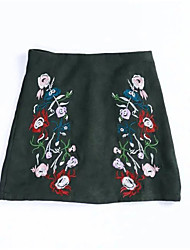 Women's A Line Floral Embroidered Skirts,Going out Casual/Daily Holiday Vintage Chinoiserie High Rise Mini Elasticity Polyester Others