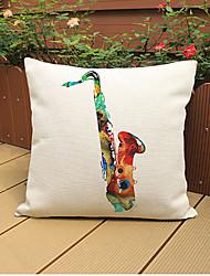 1 pcsSaxophone printing Linen Pillow CaseNovelty Modern/Contemporary