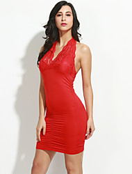 Women's Club Sexy Bodycon / Lace Dress,Solid Halter Mini Sleeveless Red / Black Polyester / Spandex / Others Summer Mid Rise Micro-elastic