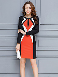 Women's Going out Casual/Daily Holiday Sexy Simple Sheath Dress,Patchwork Round Neck Maxi Long Sleeve Cotton Nylon Blue Orange SpringMid