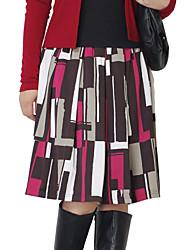 Women's Multi-color Skirts , Vintage/Print/Plus Sizes Knee-length